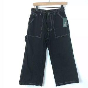 Wild Fable Wide Leg Capri Cargo Pants 0 Black 90s